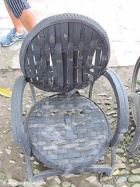 Chair made of recycles tyre tubes