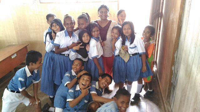With School Kids in Waisai Island