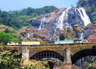 Dudhsagar Waterfalls with a passing train