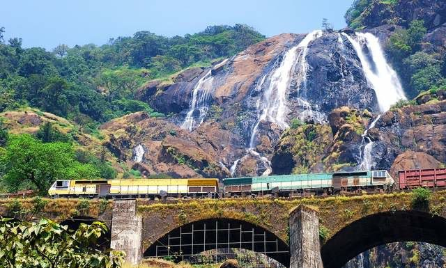 Dudhsagar Waterfalls with a passing train