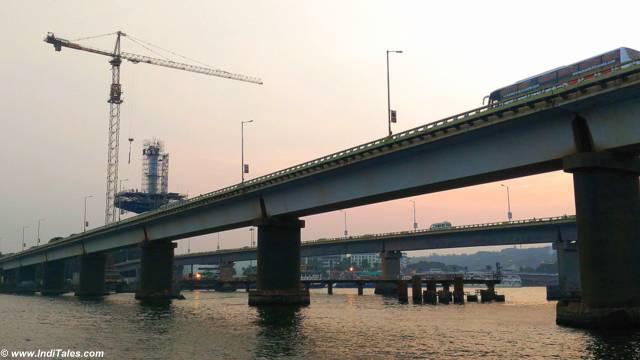 Going under the twin bridges on Mandovi