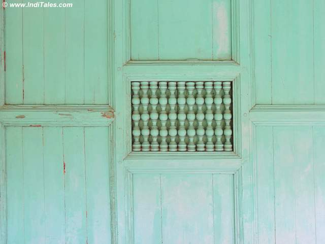 Colorful wooden partition and window