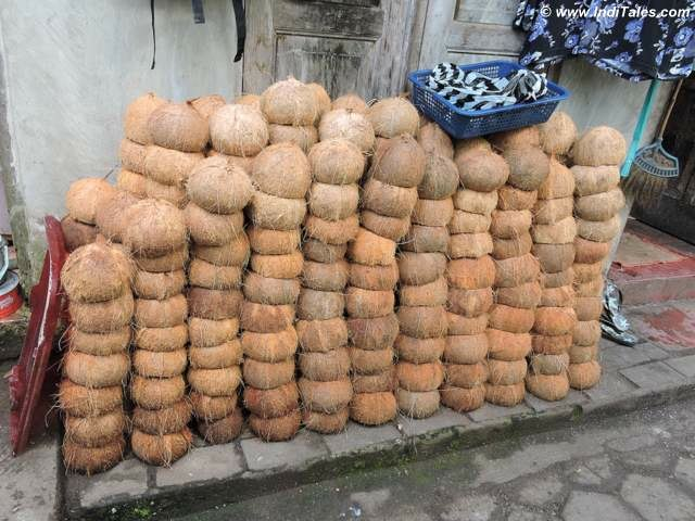 Neatly piled coconut shells