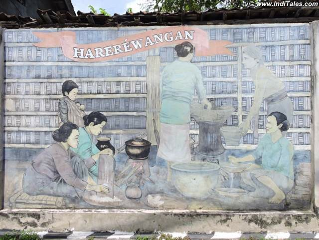 Wall mural depicting women at work - Kota Gede