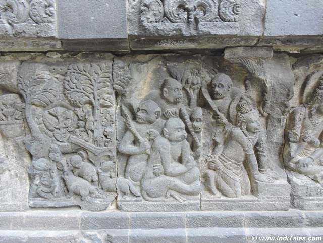 Vanar Sena or the army of monkeys a Ramayana Panel carved in stones