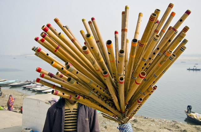 Bansuri or flutes sold on ghats of Ganga in Varanasi