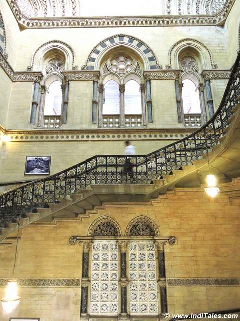 Staircase with Jali Work window at CST Mumbai
