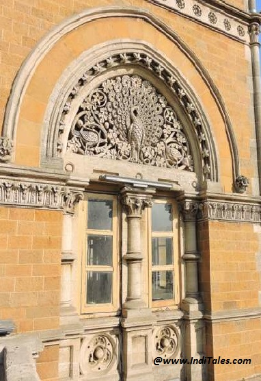 Peacock carved on a window of CST Heritage Building