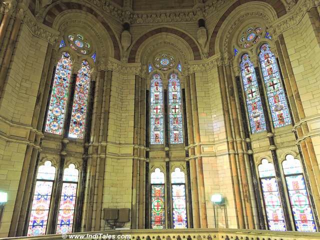Double layered stained glass planels inside CST Mumbai Dome