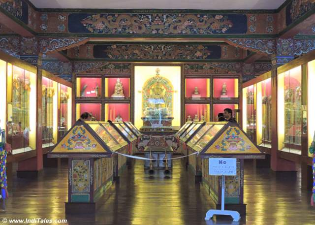 Display of artifacts at Namgyal Institute of Tibetology, Gangtok