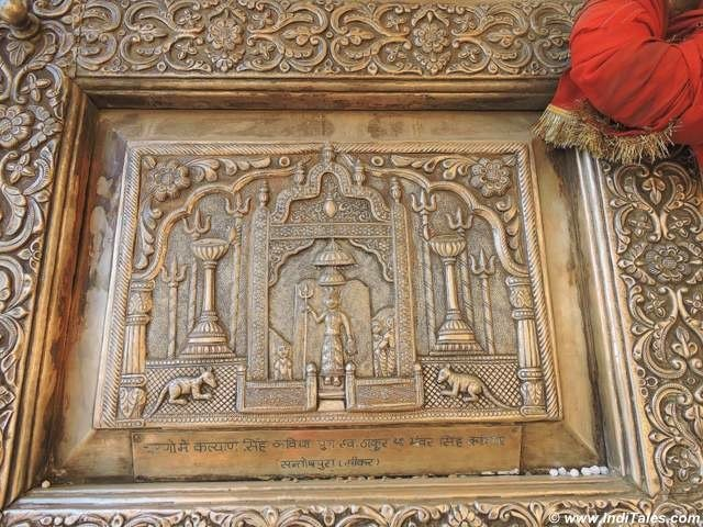 Karni Mata on the silver carved door of the temple