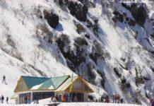 Snow clad mountains en route Nathu La Pass