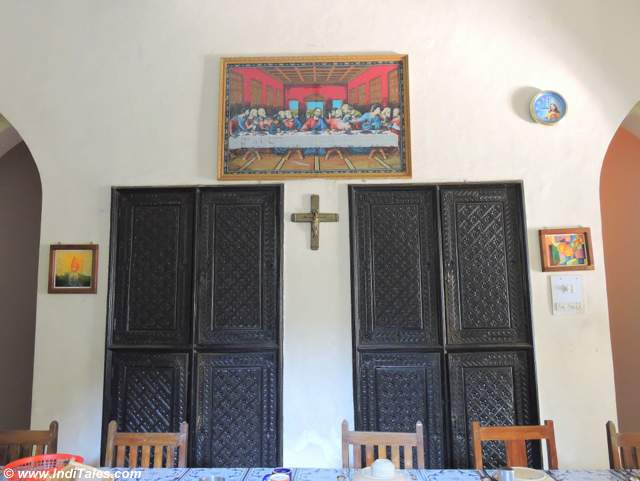 Wood carved doors inside Pallotti House in Assagao