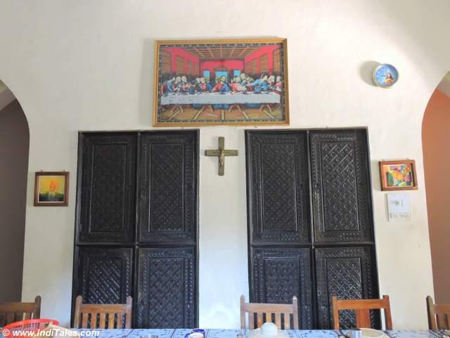 Wood carved doors inside Pallotti House in Assagao