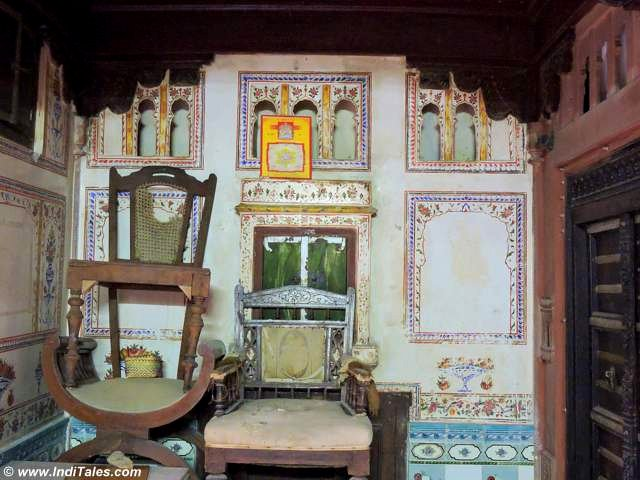 Inside view of heritage paintings, furniture of Sopani Haveli