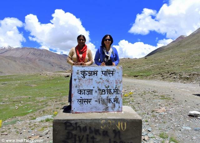 Alka & Me at the Kunzum Pass Milestone