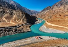 Confluence of Zanskar & Indus River near Leh in Ladakh