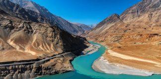 Confluence of Zanskar & Indus River near Leh in Ladakh