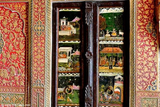 Wooden door with miniature paintings - Anup Mahal - Junagadh Fort - Bikaner