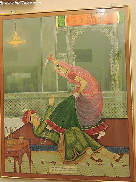 A Rajput woman killing Akbar
