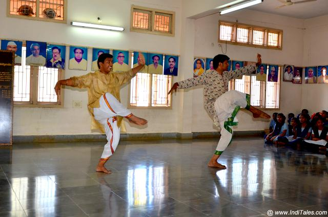 Students practicing the dance form