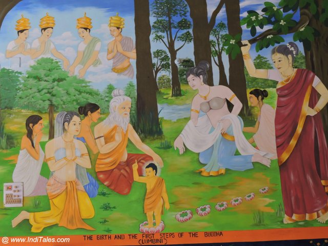 Wall Mural at Indian Temple depicting Maya Devi & Birth of Buddha