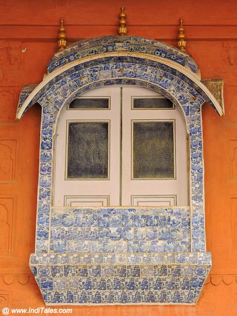 Rajasthani Jharokha adorned with blue tiles from Europe