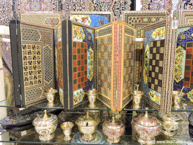 Carved wooden chess boards at Blue Souq in Sharjah