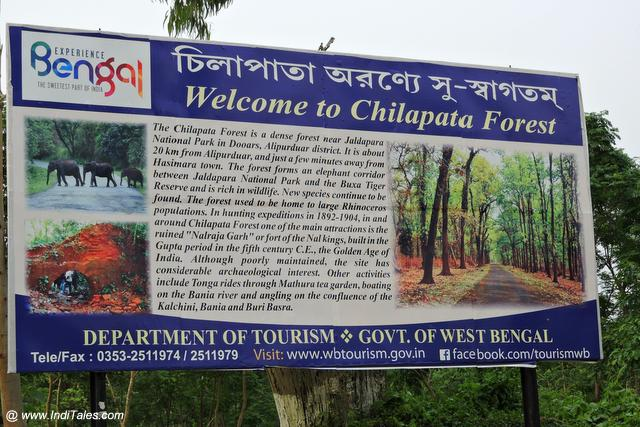 Chilapata Forest Bengal Tourism information board