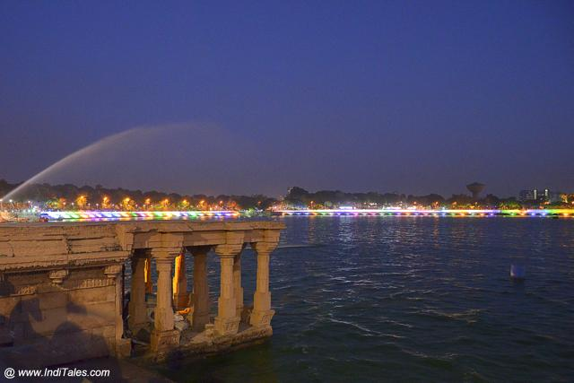 Popular Kankaria Lake, Ahmedabad at dusk