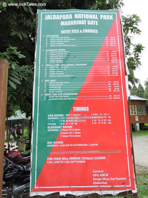 A notice board detailing the safari's at Jaldapara National Park Madarihat Gate