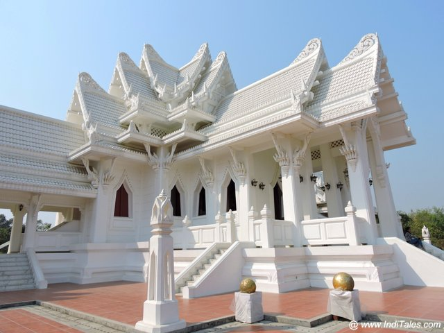 Thai monastery in all white at Lumbini Garden