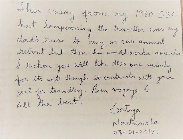 Hand Written Note - Satya Govindrajan