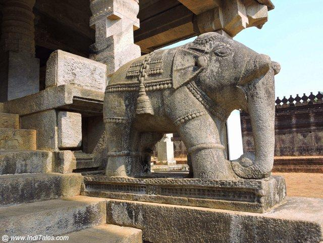 Carved Elephant at the entrance of Thousand Pillar Temple - Moodbidri