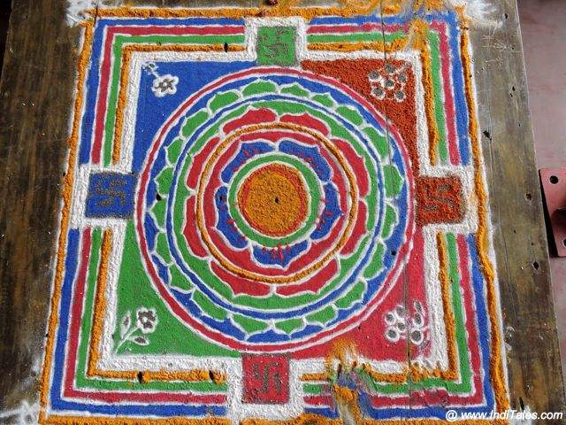 Colorful Jain Mandala created for a ritual - Moodbidri