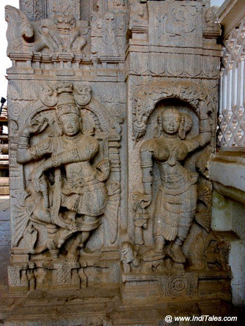 Carved pillars at Jain Temples of Moodbidri