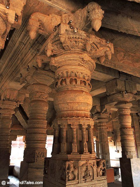 Intricately carved pillars of Thousand Pillar Temple at Moodbidri - Karnataka