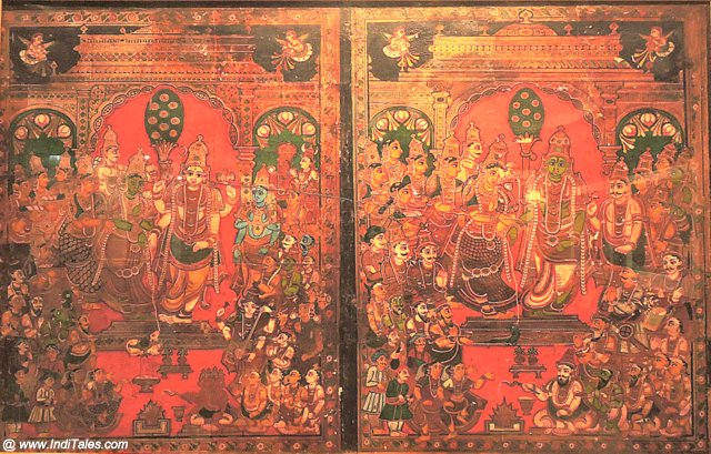 Tanjore Painting depicting the weddings of Shiva-Parvati & Ram-Sita