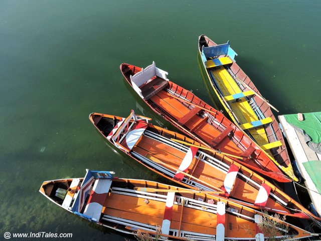 Colorful boats for tourist rides at Bhimtal Lake