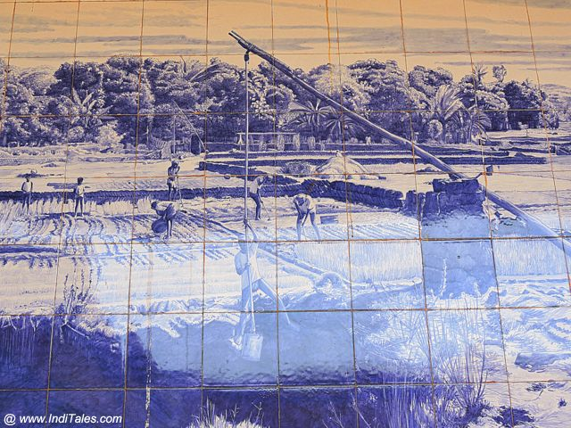Part of Azulejos mural at wedding hall at St Estavan in Goa