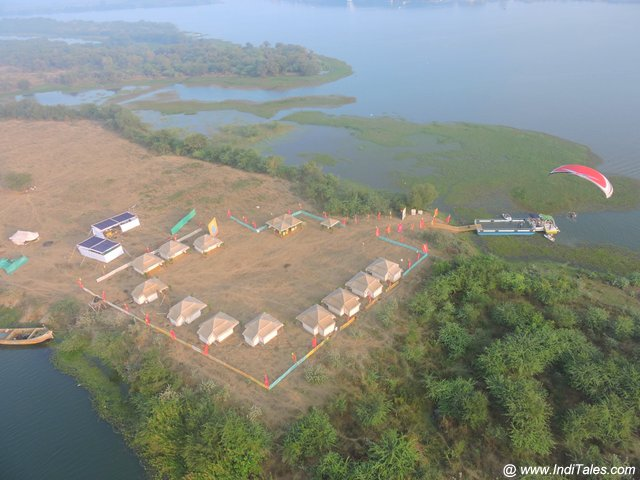 Aerial view of Amaravati campsite