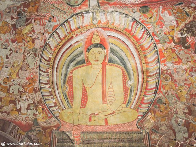 Bhumi Sparsh Mudra of Buddha Wall Mural at Dambulla Cave Temple
