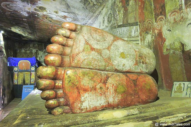 Painted Buddha Feet at Cave 1 - Dambulla