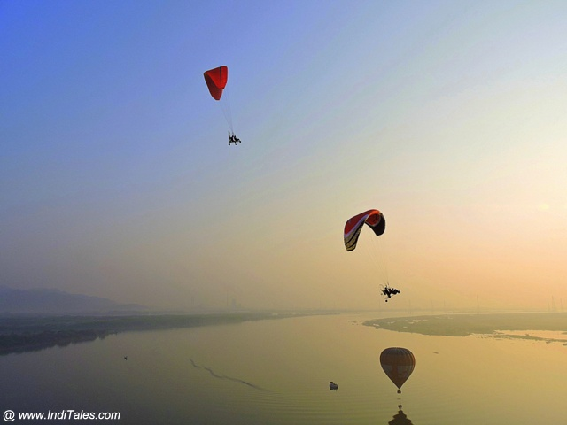Hot Air Balloon rides and Paragliders over scenic Krishna river, Amaravati