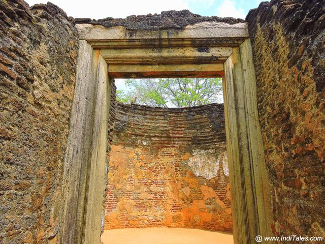 Door to ancient library or the story telling hall at Potgul Vihara - Polonnaruwa