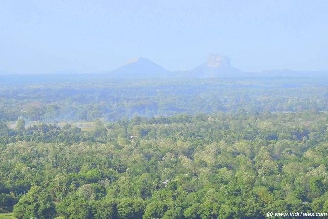 View of Sigiriya while climbing Dambulla Rock