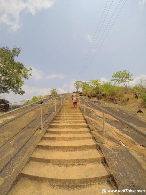 Carved steps on rocky hill at Karkala