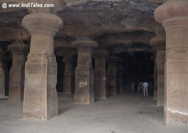 Carved Pillars inside Elephanta Caves