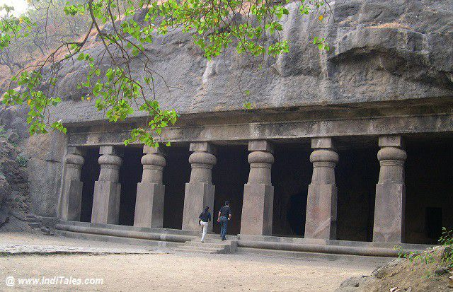 Excavated caves at Gharapuri or Elephanta