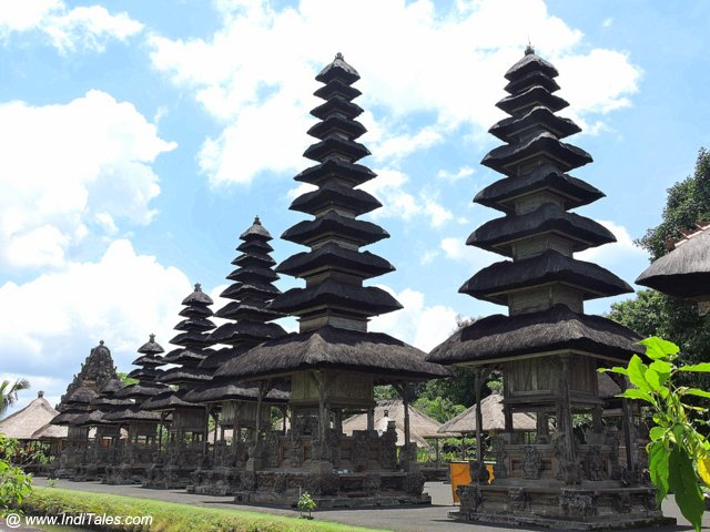 Meru or tiered canopies above platforms at Tamana Ayun Temple - Bali